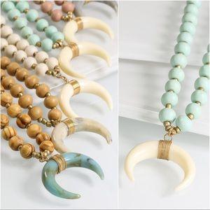 Mint Crescent horn necklace